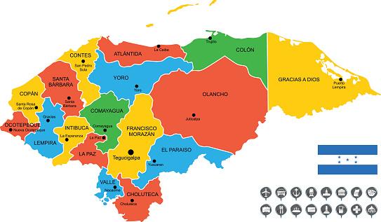 Detailed Vector Map of Honduras