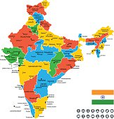 Detailed Vector Map of India.