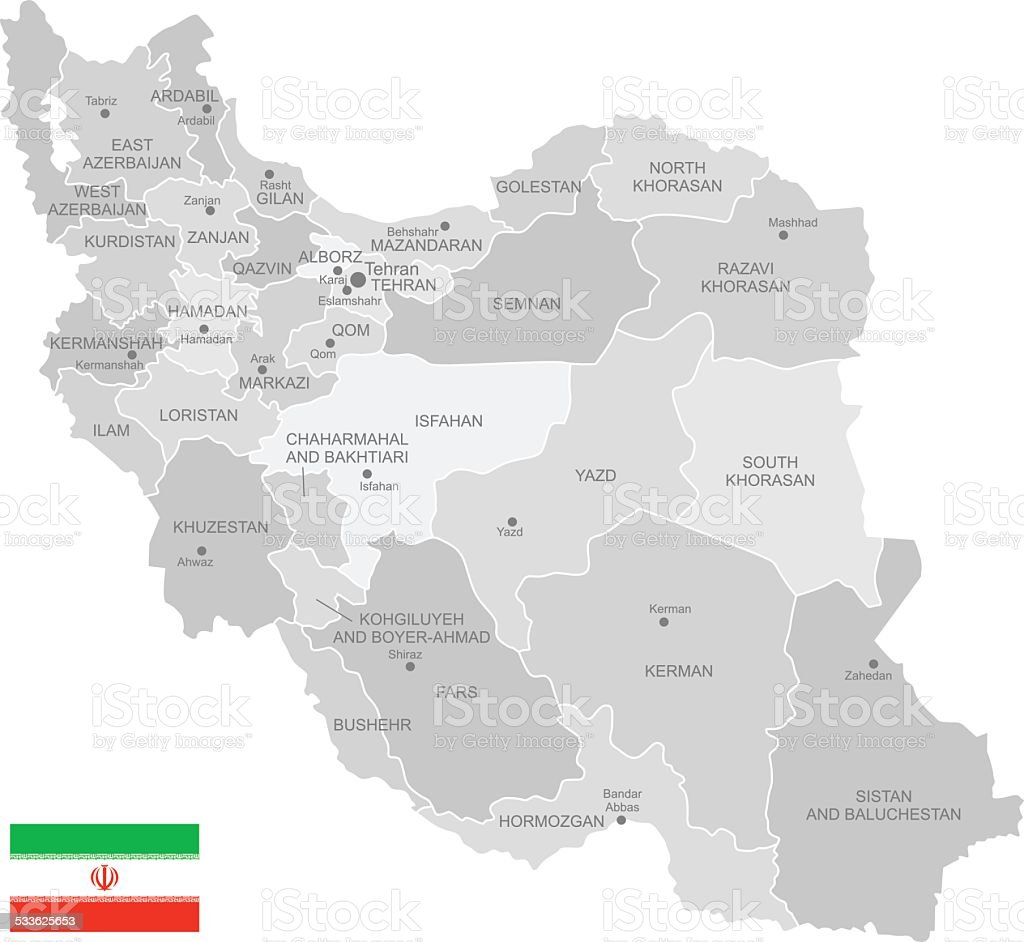 Detailed Vector Map Of Iran stock vector art 533625653 | iStock