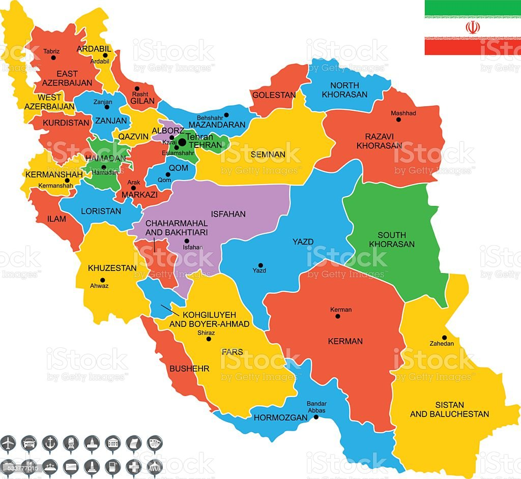 Detailed Vector Map Of Iran Stock Vector Art More Images of 2015