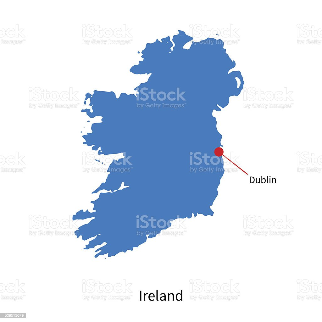 Detailed vector map of Ireland and capital city Dublin