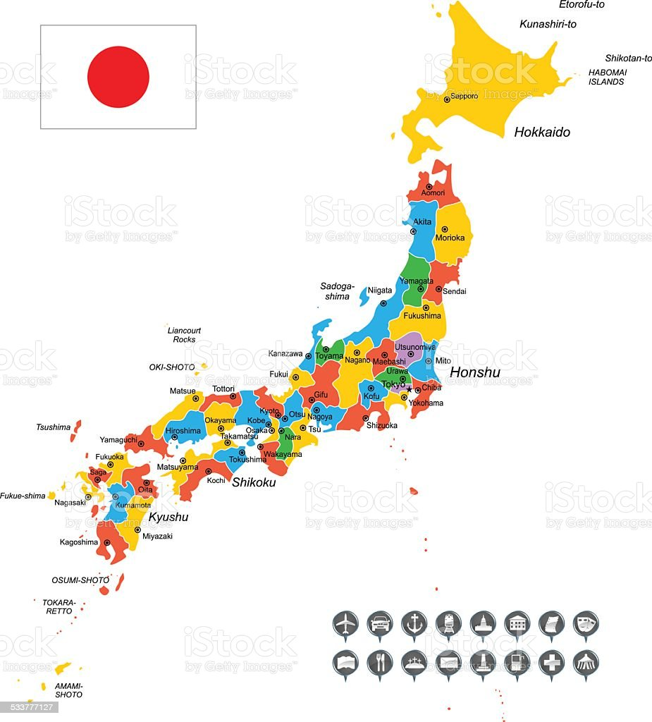 Detailed Vector Map Of Japan Stock Vector Art IStock - Japan map free
