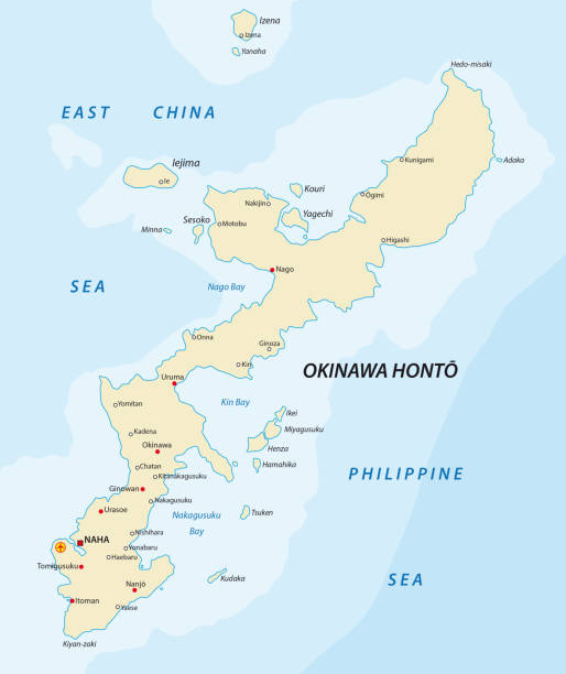 Detailed vector map of Japanese island Okinawa Detailed vector map of Japanese island Okinawa. naha stock illustrations