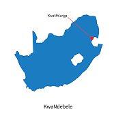 Detailed vector map of KwaNdebele and capital city KwaMhlanga