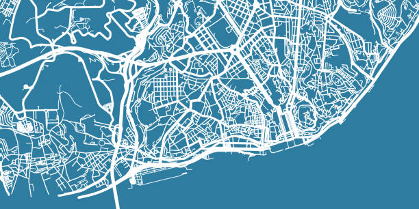 illustrazioni stock, clip art, cartoni animati e icone di tendenza di detailed vector map of lisboa, scale 1:30 000, portugal - lisbona