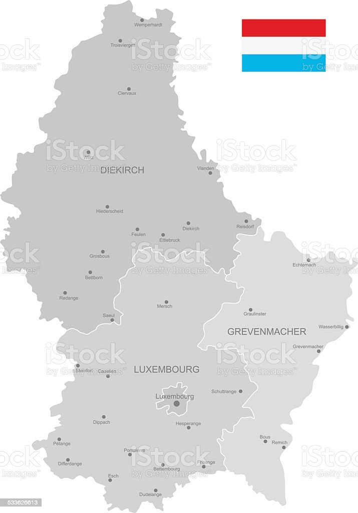Detailed Vector Map of Luxembourg vector art illustration