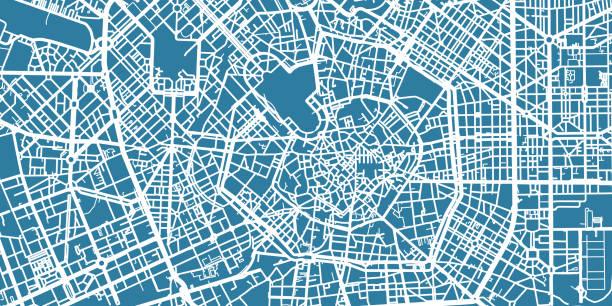 illustrazioni stock, clip art, cartoni animati e icone di tendenza di detailed vector map of milan, scale 1:30 000, italy - milan