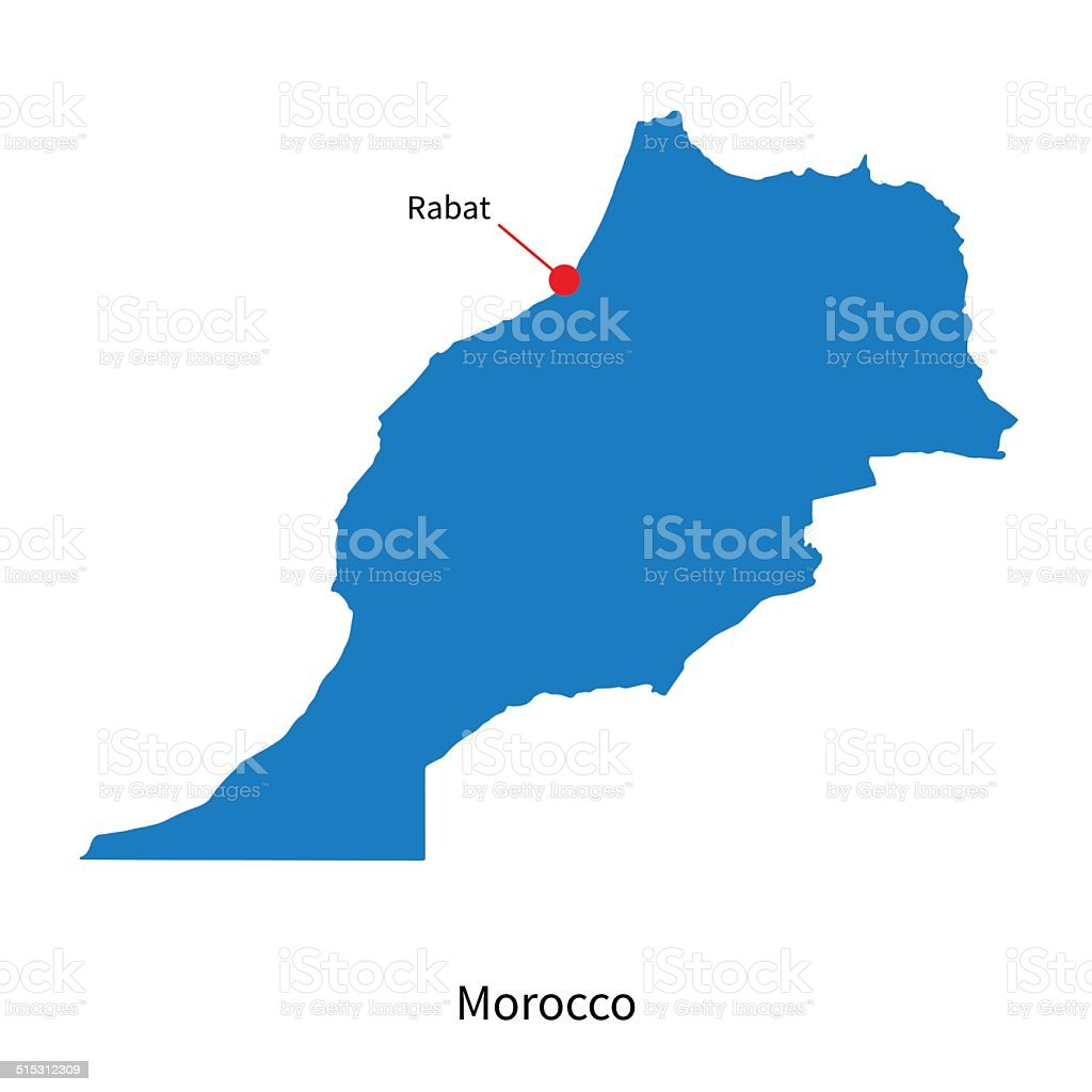 Cartina Geografica Fisica Del Marocco.Mappa Vettoriale Dettagliata Del Marocco E Di Rabat Citta Capitale Immagini Vettoriali Stock E Altre Immagini Di Blu Istock