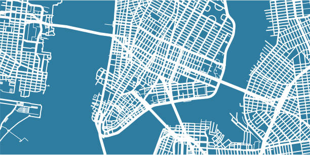 detailed vector map of new york, scale 1:30 000, usa - new york map stock illustrations, clip art, cartoons, & icons