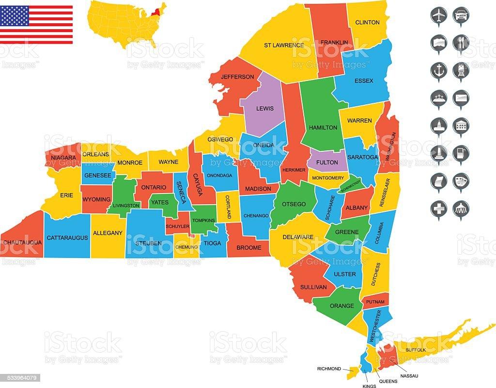 Famosos Detallado Vector De Mapa Del Estado De Nueva York - Arte vectorial  IZ68