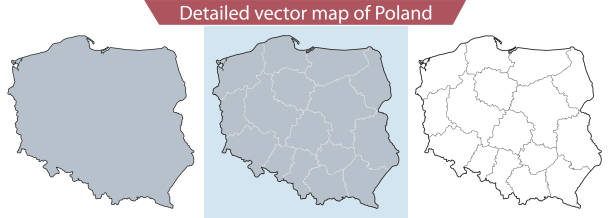 Detailed vector map of Poland vector map polish culture stock illustrations