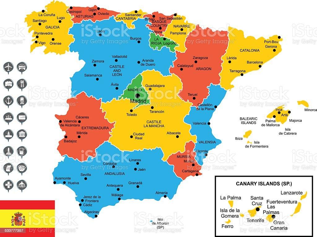 carte espagne en espagnol