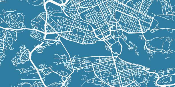 bildbanksillustrationer, clip art samt tecknat material och ikoner med detaljerade vektor karta över stockholm, skala 1:30 000, sverige - stockholm