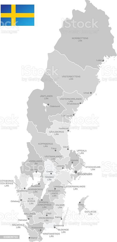 Detailed Vector Map of Sweden vector art illustration