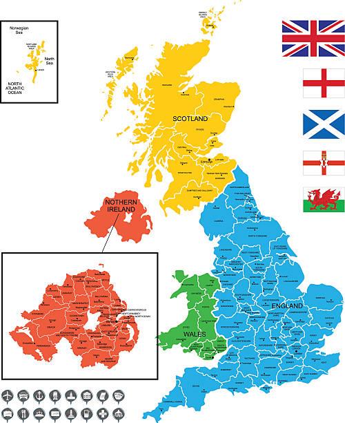 detaillierte vektor karte von großbritannien - flagge irland stock-grafiken, -clipart, -cartoons und -symbole