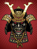 detailed vector of traditional samurai helmet and mask