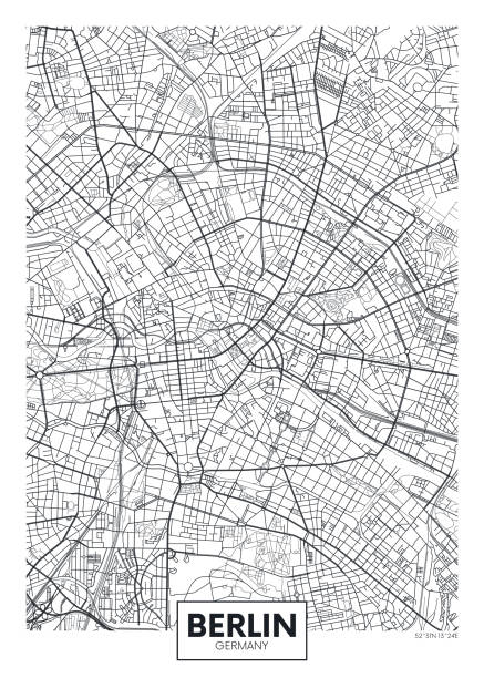 Detailed vector poster city map Berlin Detailed vector poster city map Berlin detailed plan of the city, rivers and streets berlin stock illustrations