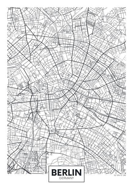 bildbanksillustrationer, clip art samt tecknat material och ikoner med specificerad vektor affisch stad kartlägger berlin - berlin city