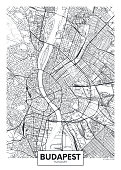 Detailed vector poster city map Budapest detailed plan of the city, rivers and streets