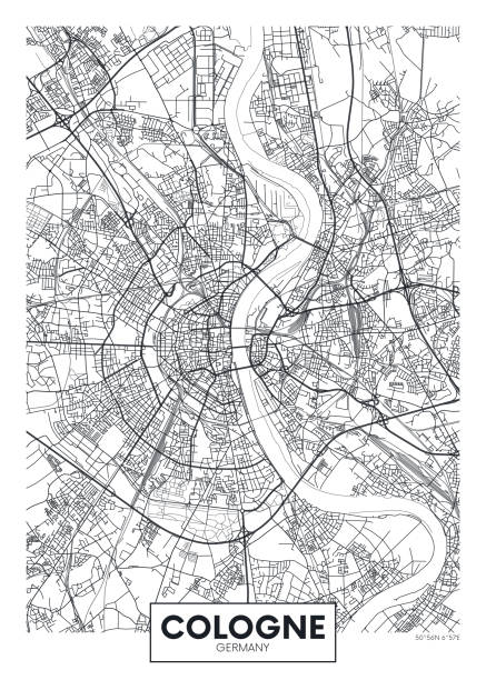 detaildurchführtes vektorplakat stadtplan köln - köln stock-grafiken, -clipart, -cartoons und -symbole