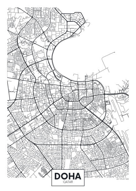illustrations, cliparts, dessins animés et icônes de carte de ville d'affiche vectorielle détaillée doha - doha