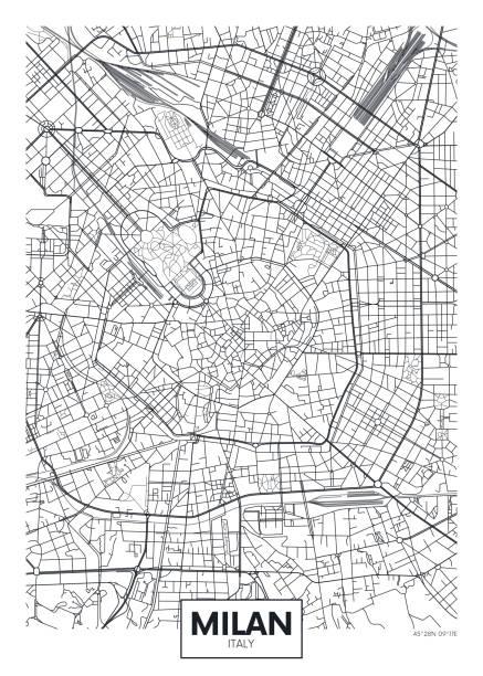illustrazioni stock, clip art, cartoni animati e icone di tendenza di poster vettoriale dettagliato mappa della città milano - milano