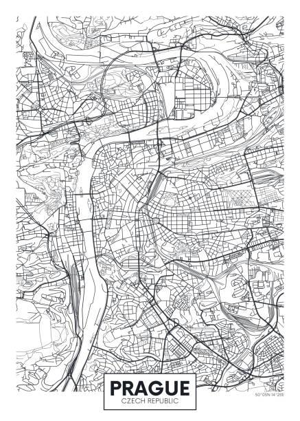상세한 벡터 포스터 도시 지도 프라하 - 체코 stock illustrations