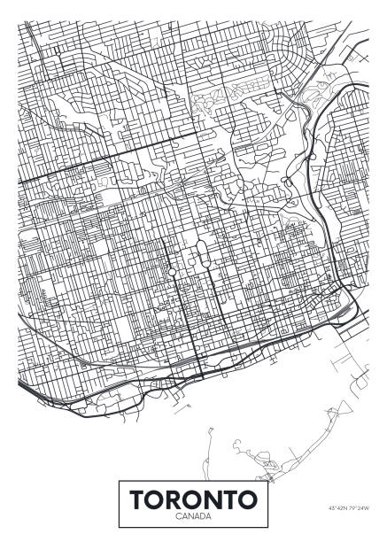 detailed vector poster city map toronto - toronto stock illustrations