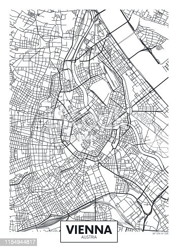 Detailed vector poster city map Vienna detailed plan of the city, rivers and streets