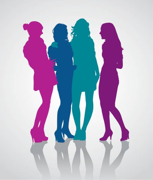 Detailed vector silhouettes of girlfriends group Group of girlfriends talking to each other. Detailed vector silhouettes of teenager girls. four people stock illustrations