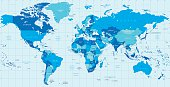 Detailed vector World map in colors of blue