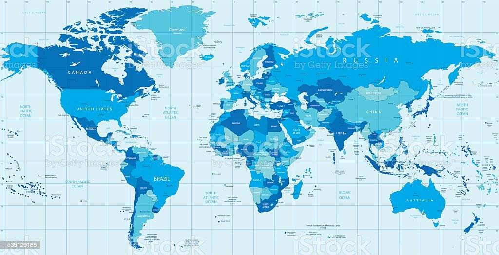 Detailed vector World map in colors of blue vector art illustration