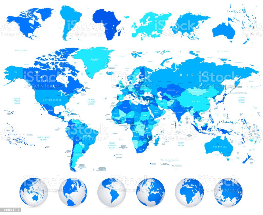 Detailed Vector World Map Of Blue Colors And Continents ...