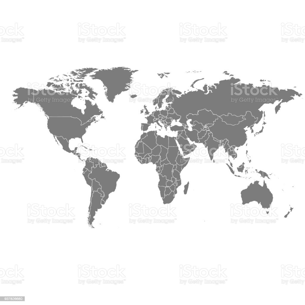 Detailed vector world map vector art illustration