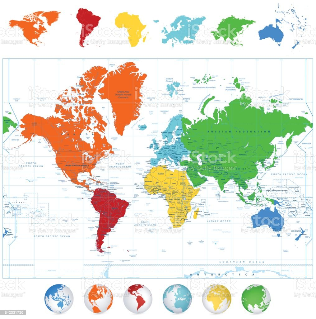 Detailed vector world map with colorful continents and 3d globes detailed vector world map with colorful continents and 3d globes royalty free stock vector gumiabroncs Images