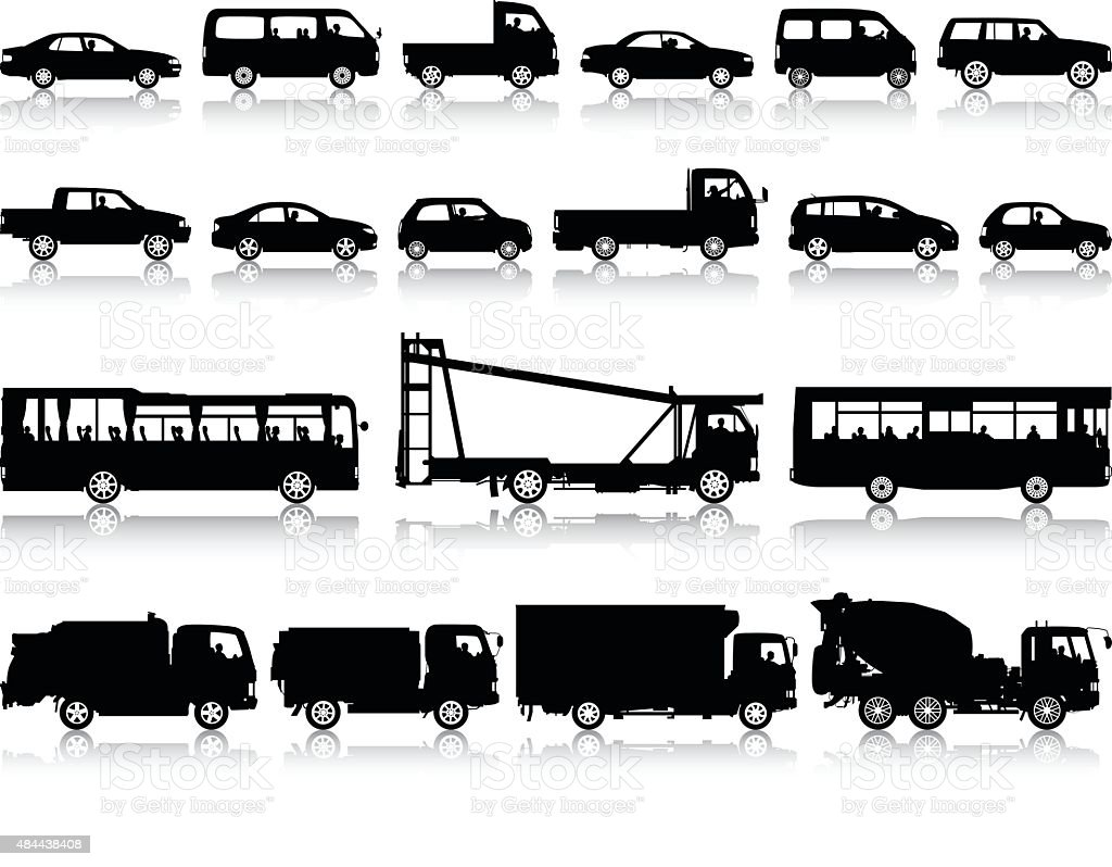 Detailed Vehicles vector art illustration
