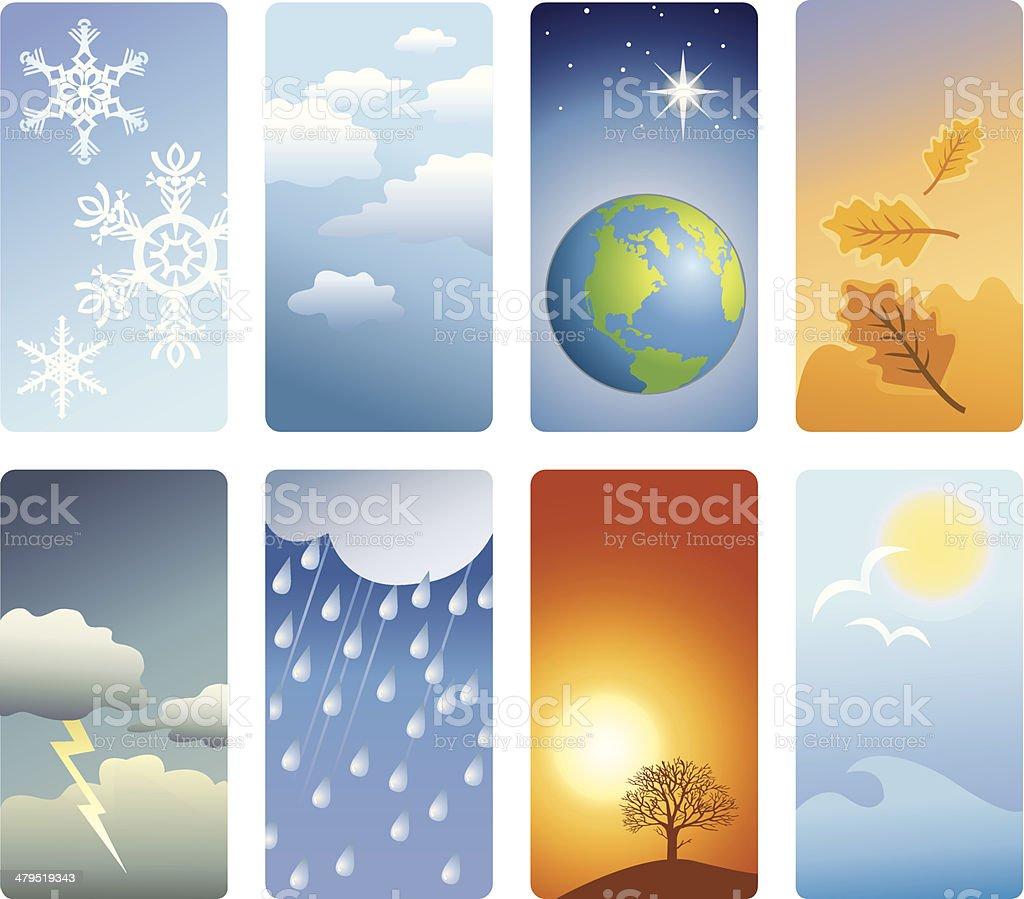 Detailed vignettes - weather vector art illustration