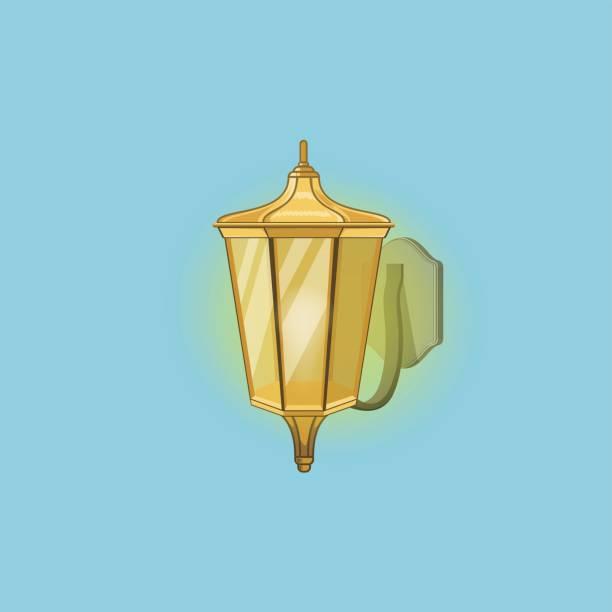 Detailed Vintage Street Lamp vector art illustration