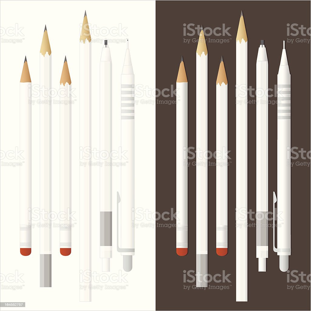 Detailed White Pencils royalty-free detailed white pencils stock vector art & more images of art and craft equipment