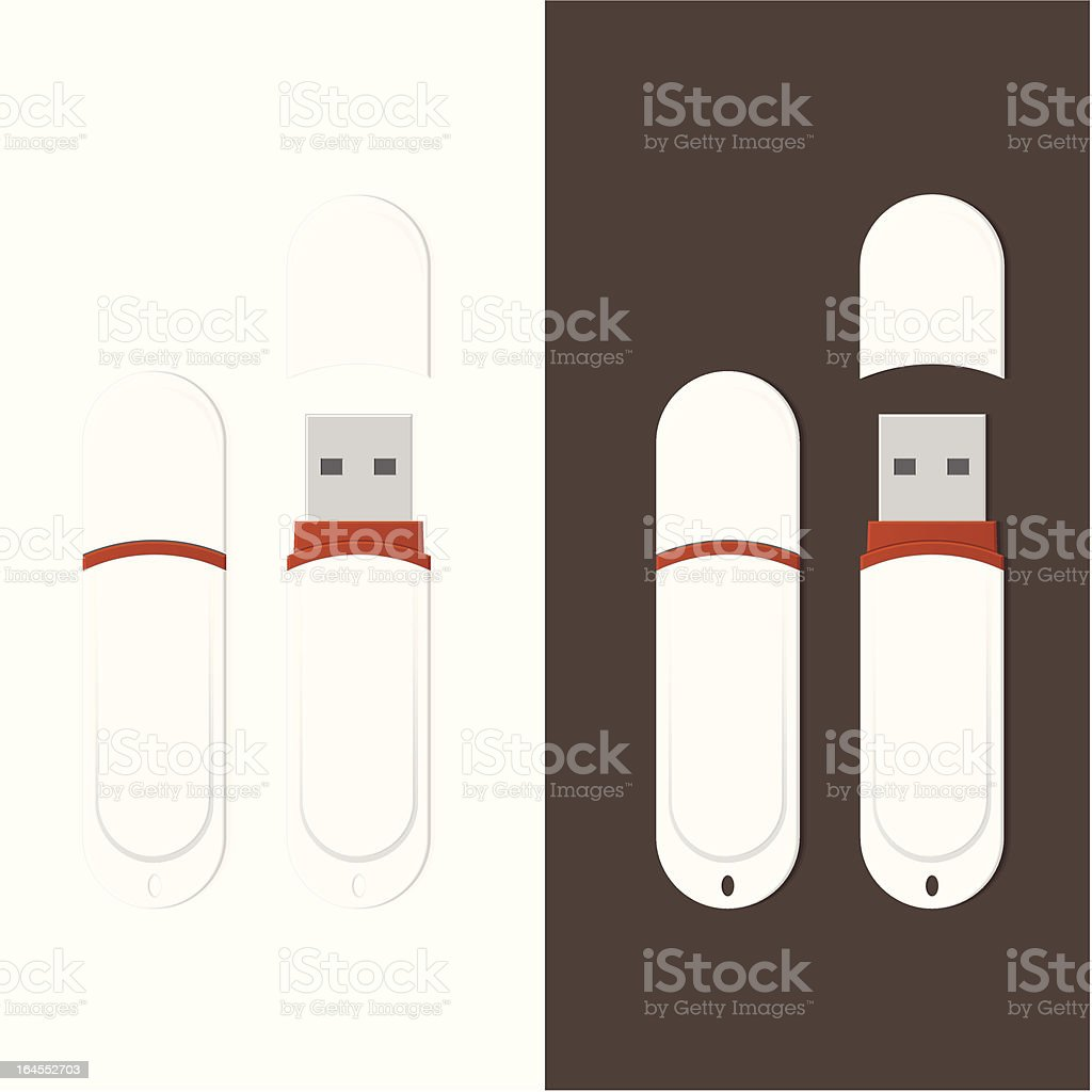 Detailed White USB Flash Drive royalty-free stock vector art