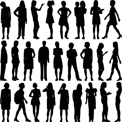 Detailed Women Silhouettes clipart