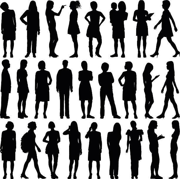 stockillustraties, clipart, cartoons en iconen met detailed women silhouettes - business woman phone