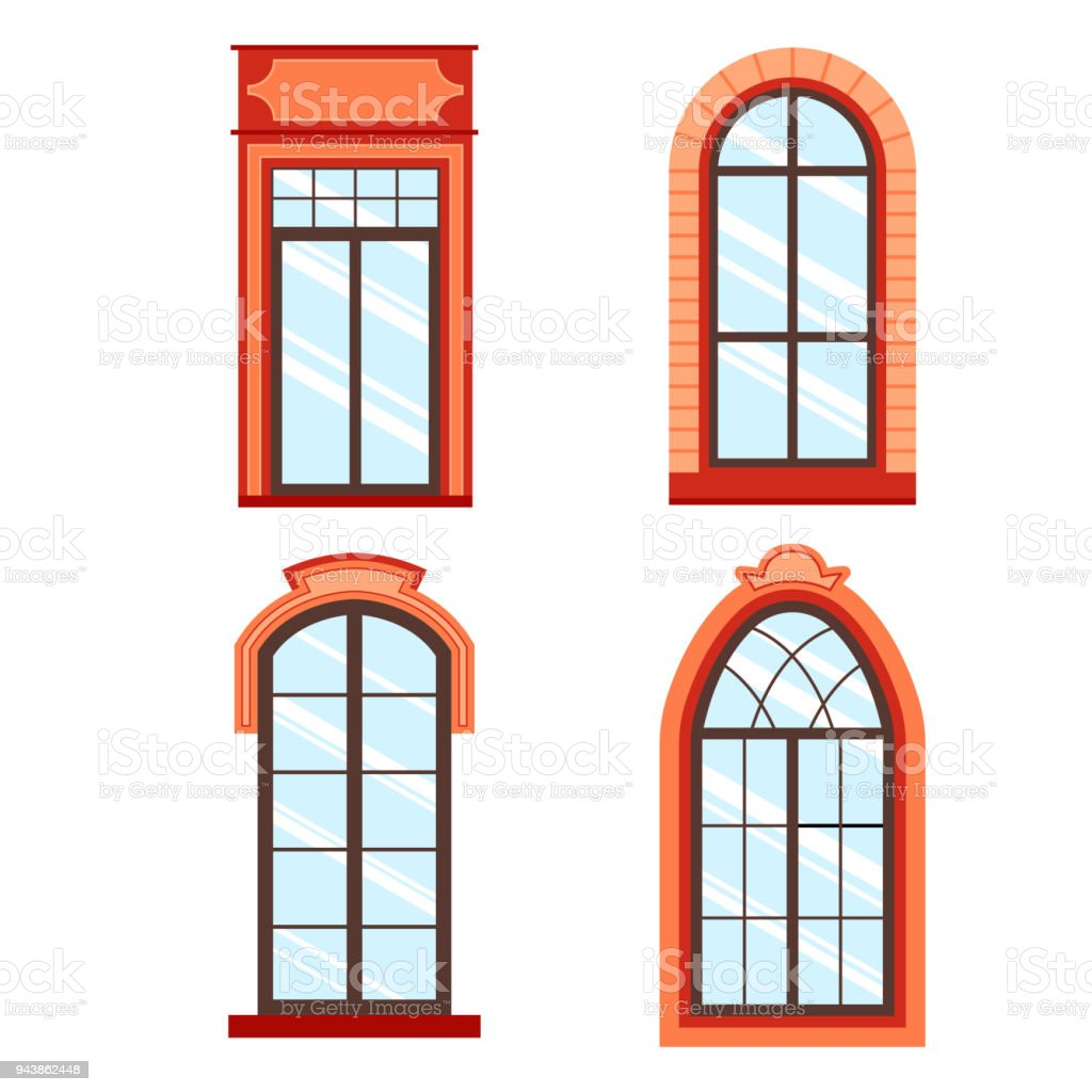 Detailed Wooden Window Frames View Isolated On House Wall ...