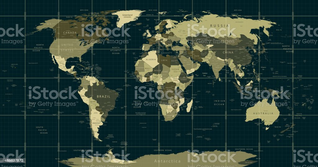 Square Earth Map.Detailed World Map In Camouflage Colors With A Square Grid Stock