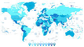 Detailed World Map in colors of blue and map pointers