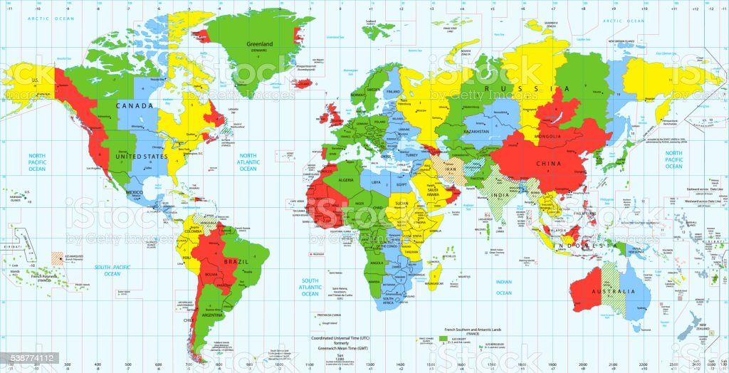 Ilustracin de detailed world map standard time zones y ms banco de detailed world map standard time zones ilustracin de detailed world map standard time zones y gumiabroncs Image collections