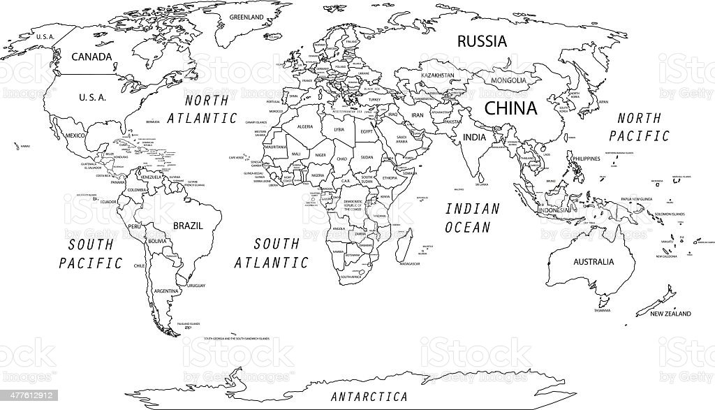 Detailed World Map Stock Illustration - Download Image Now ...