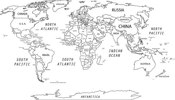Top World Map Black And White Clip Art, Vector Graphics and ...