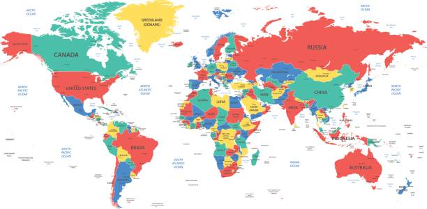 Detailed World Map With Borders Countries And Cities Stock ...