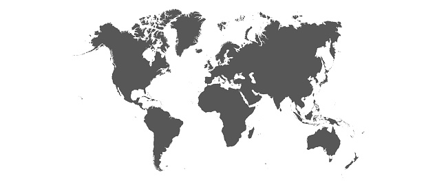 Detailed world map with borders of states. Isolated world map. Isolated on white background. Vector illustration.